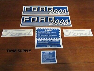 Ford Tractor Decal Set 2000 With Caution Stickers 1115-1537