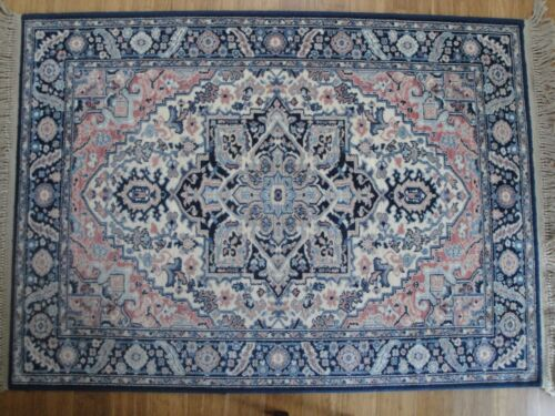 KARASTAN BLUE HERIZ #748 RUG 4.3X 6  Blue Pink Cream 100%New Zealand WOOL USA