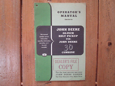 John Deere 66 Inch Belt Pickup For John Deere 30 Combine Operator's Manual