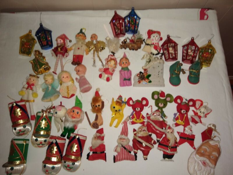 Vintage Lot 45 Mid Century Christmas Ornaments Decor Flocked Felt Japan