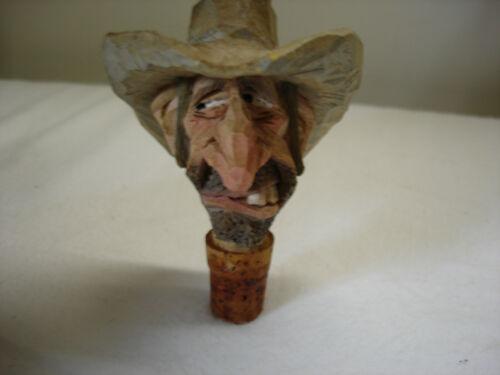 Chris Hammack carved wood cowboy head whisky bottle stopper