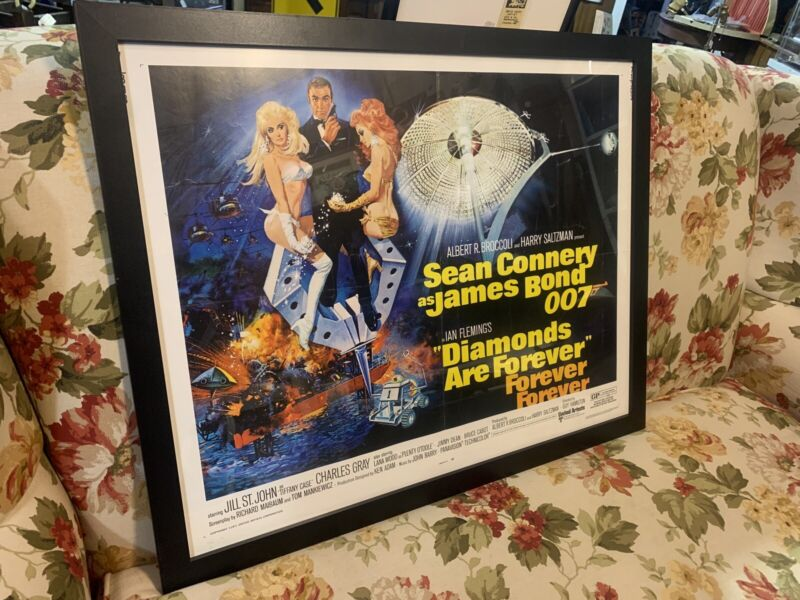 Framed DIAMONDS ARE FOREVER Original MOVIE POSTER Sean Connery James Bond Rare