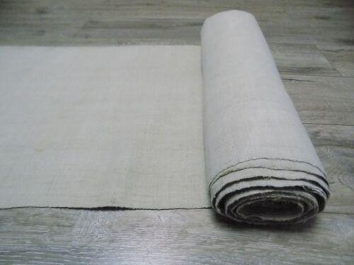 antique homespun thin Hemp fabric 11,5x0,44m light gray 1900s Great condition