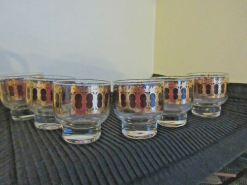 VINTAGE LOT OF Six CULVER CRANBERRY AZURE SCHROLL CORDIAL/LOWBALL GLASSES
