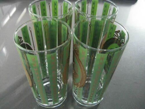 Set of 4 Cera Glass CGP17 Athena & Cupid Tumblers 12 OZ. Green & Gold