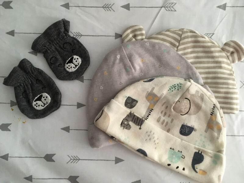 gerber organic cotton Newborn Set Of 3 Hats + Hand warmers