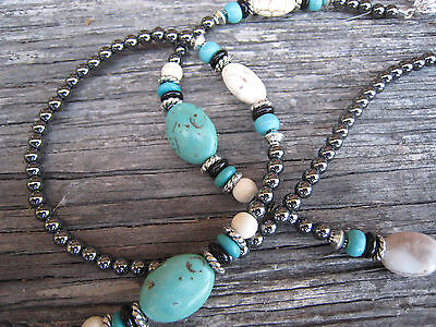 Hematite Turquoise Beaded Eyeglass Sunglass Chain Lanyard For Reading Beads