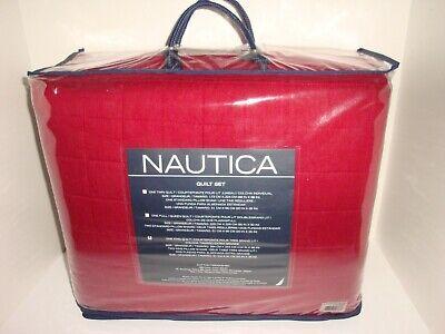 Nautica Maywood King Quilt + King Shams Set Red White Cotton Box Stitch Stripe