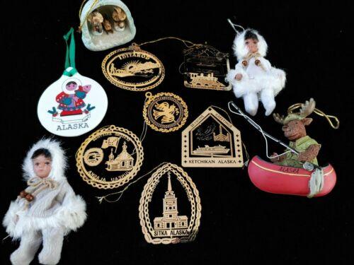 Lot of 11 Alaskan Christmas Ornaments, metal, doll, resin