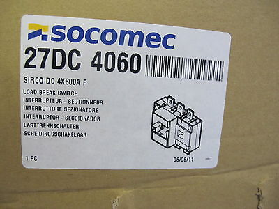 Socomec 27dc4060 600 Amp 4 Pole Load Break Switch New