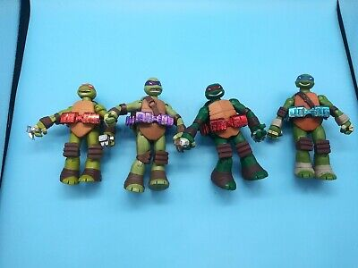 2013 Playmates TMNT Leo, Donnie, Raph And Mikey Metallic Belt Figures Set Of 4