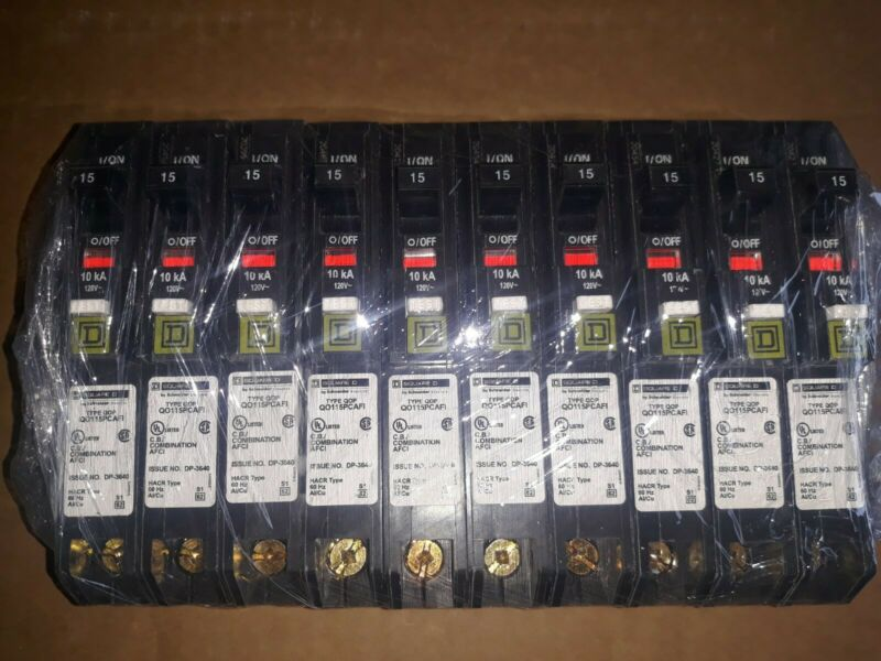 10 NEW OUT OF BOX SQUARE D QO115PCAFI  1POLE 15AMP ARC FAULT PLUG ON READY