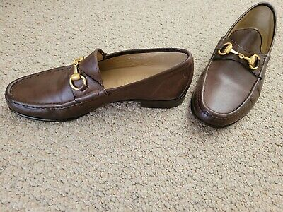 Vintage Gucci Men's Horsebit Brown Leather Loafers  Size 7.5,Excellent Condition