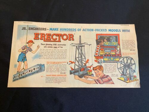 #01 ERECTOR SET Sunday Third Page Comic Strip Ad December 13, 1953