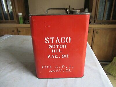 Vintage Staco Motor Oil Can 2 Gallon Only 1 on eBay Lot 20-95-6