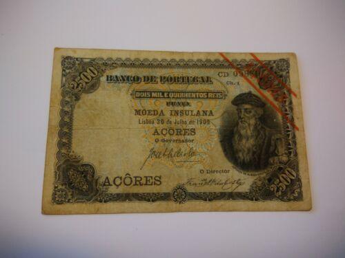 Portugal Azores 2500 Reis 30 July 1909 Very Fine P.8b ($900 in VF) MEGA RARE