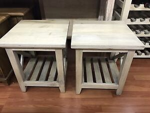 Pair of side tables lamp tables solid timber mango wood Willoughby Willoughby Area Preview