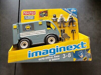 IMAGINEXT FISHER-PRICE DC SUPER FRIENDS GCPD OFFICER ,BANE AND VEHICLE