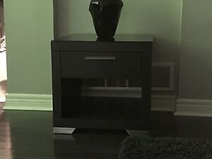 Espresso End Table with Black Glass Top!