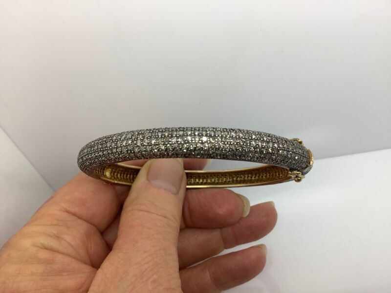 """STERLING SILVER G/P PAVE 7MM INDIAN DIAMOND BANGLE 7 1/2"""""""