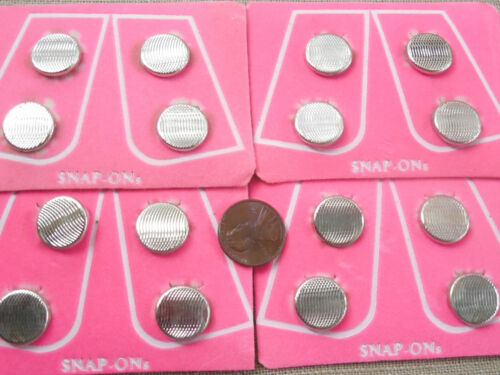Vintage NOS 4 sets 1980s ridged silver tone button covers original display MC #3