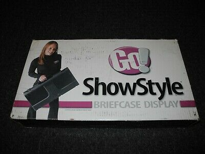 New In Box Go Showstyle Briefcase Display Tabletop Portable Black Fabric Panels