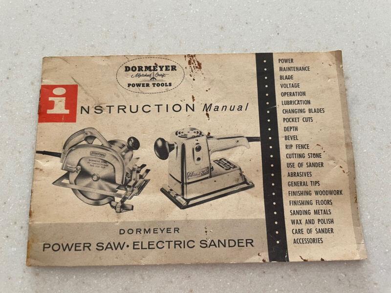 Vtg Dormeyer Matched Craft Power Tools Instruction Manual ~ Saw & Elec Sander