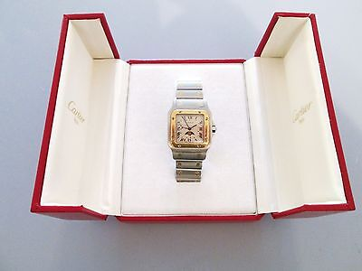 Men Cartier Santos Moonphase 29mm Ref 119901 18K Gold/SS Pointer Date Watch/Box
