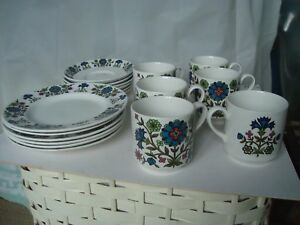Vintage-1960s-18-piece-set-Midwinter-Country-Garden-cups-saucers-plates-retro
