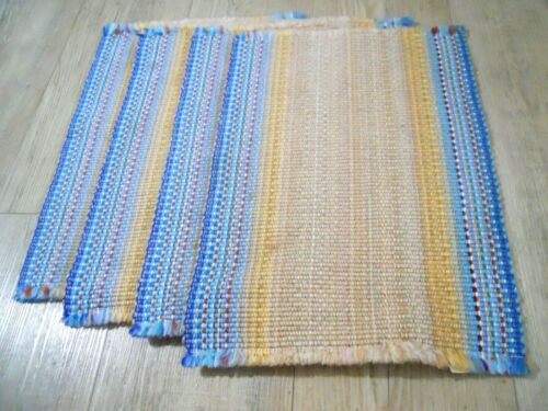Vintage Mid Century Woven Placemats Town Country Fringe Lot of 4 Japan Cottage