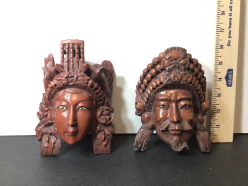 Pair of Male/female Red Resin Carved Chinese Masks