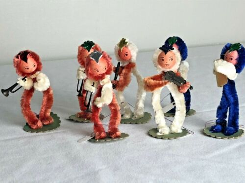 Vintage Chenille Pipe Cleaners Christmas Figures 7 Musicians Elves