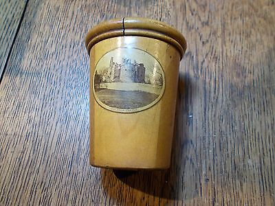 ANTIQUE MAUCHLINE PATTERNED TWO WOOD  GLASS HOLDER DIRLETON CASTLE  EMPTY