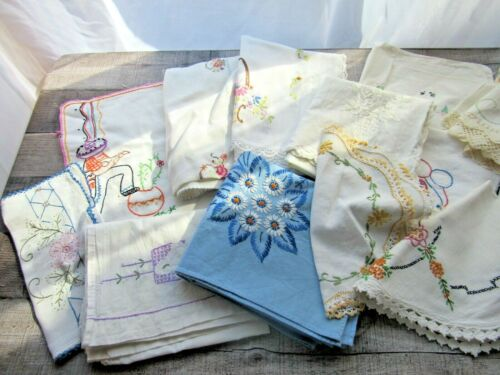 Vintage Embroidered Linens Lot of 15 Cutter Craft Repurpose Upcycle - Pretty!