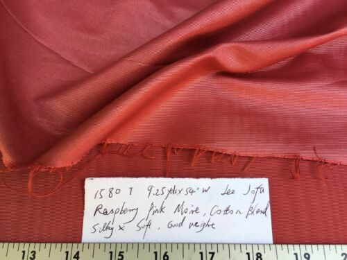 9.25Y LEE JOFA RASPBERRY RED MOIRE COTTON RICH IRIDESCENT! #1580