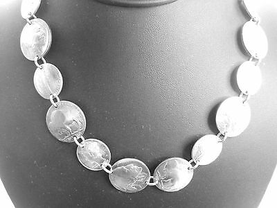 Antique nickel & silver Mercury dime linked necklace-beautifully domed-18
