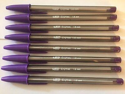 Lot Of 8 Purple Bic Cristal Ballpoint Pens 1.6mm Xtra-bold