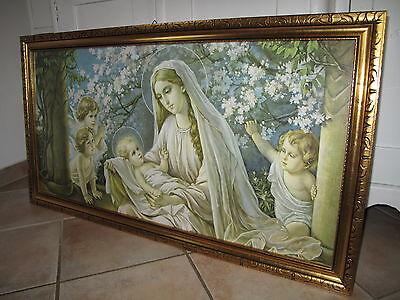 Antik groß Giovanni Heiligenbild Schlafzimmerbild Maria Jesus Schutzengel Shabby