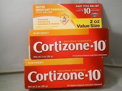Cortizone 10 Max Strength Ointment, fast itch relief water resistant 2.oz (2pk)