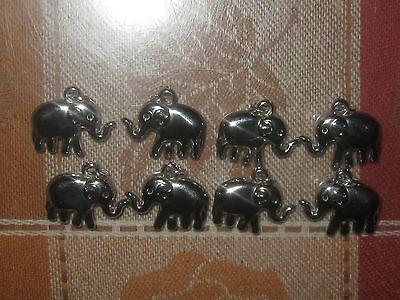 WHOLESALE LOT OF 8 SHINY AFRICA SILVER TONE 23MM ELEPHANT CHARM CHARMS PENDANTS