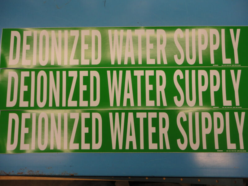 "3 Count, ""DEIONIZED WATER SUPPLY"", 4"" x 24"" Sticker, Vinyl Pipe Marker 7075-1HV"