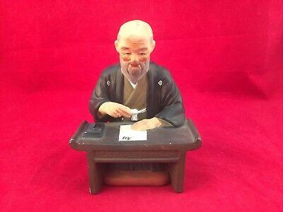 "VINTAGE FIGURINE-ELDERLY JAPANESE CALLIGRAPHER MAN SITTING AT A DESK-SHUJI-5.75"""