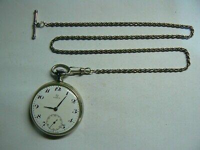 Super Rare Vintage 1925 SWISS OMEGA STEEL Pocket Watch, Original Chain & Boxed