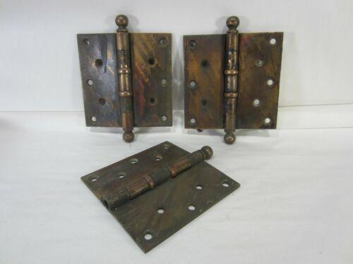 """3 Antique Stanley Sweetheart Heavy Duty 5"""" Brass Door Hinges HI#91"""