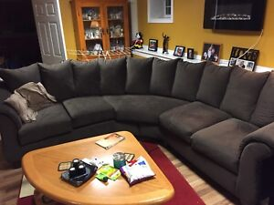Large brown microfibre sofa