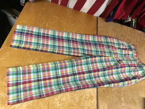 Vtg 70s-80s Blue red green yellow Plaid BOYS Youth PANTS Cotton GOLF DISCO 24x26