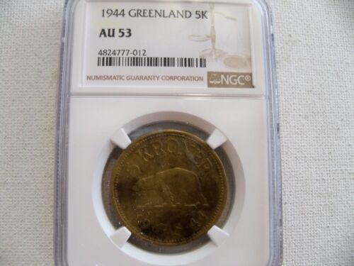 Greenland 1944 5 krone coin NGC AU 53