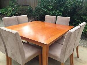 Timber dining table with 8 chairs Melbourne Region Preview