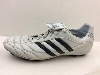 8b9fd47a8 Adidas Traxion Hard Ground Soccer Cleats White Navy Blue Women 10 M Faux  Leather