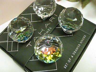 4 TAHARI Glass Crystal Mirrored Drawer Pull Knobs Round Cabinet Furniture